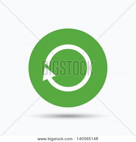 Update icon. Refresh or repeat symbol. Flat web button with icon on white background. Green round pressbutton with shadow. Vector