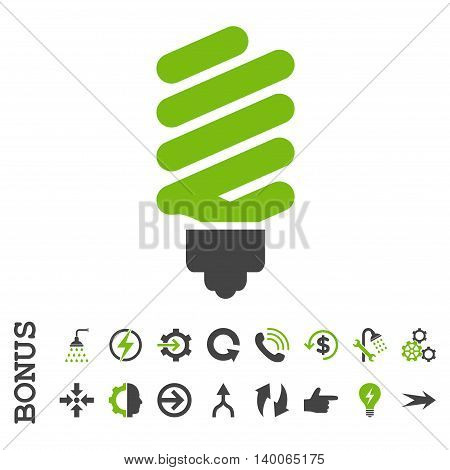 Fluorescent Bulb glyph bicolor icon. Image style is a flat iconic symbol, eco green and gray colors, white background.