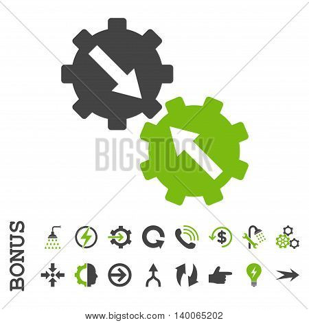 Gear Integration glyph bicolor icon. Image style is a flat pictogram symbol, eco green and gray colors, white background.