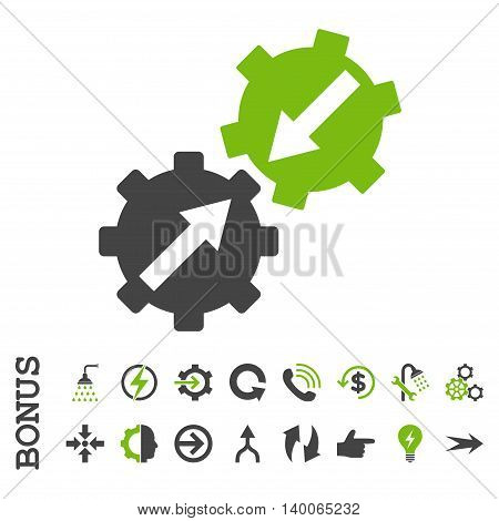 Gear Integration glyph bicolor icon. Image style is a flat iconic symbol, eco green and gray colors, white background.