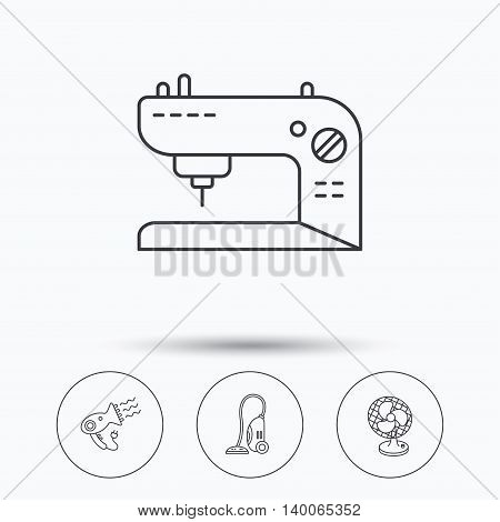 Ventilator, sewing machine and hairdryer icons. Ventilator linear sign. Linear icons in circle buttons. Flat web symbols. Vector