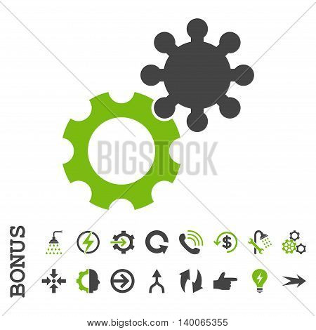 Gears glyph bicolor icon. Image style is a flat iconic symbol, eco green and gray colors, white background.