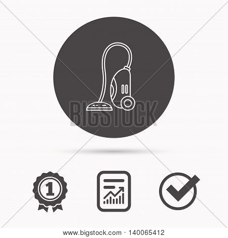 Vacuum cleaner icon. Housework device sign. Report document, winner award and tick. Round circle button with icon. Vector