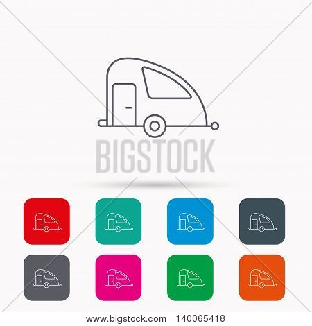 Travel van icon. Holiday camper sign. Linear icons in squares on white background. Flat web symbols. Vector