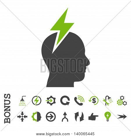 Headache glyph bicolor icon. Image style is a flat iconic symbol, eco green and gray colors, white background.