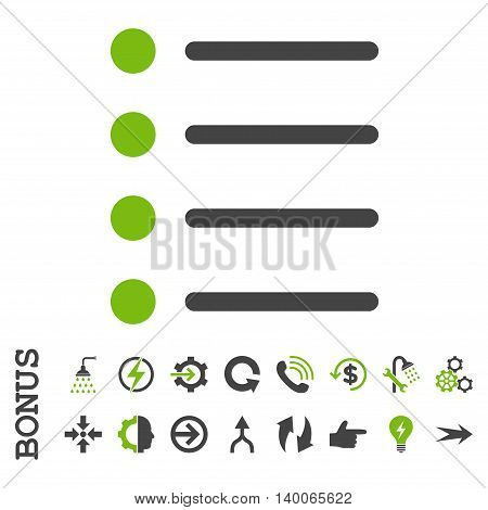 Items glyph bicolor icon. Image style is a flat pictogram symbol, eco green and gray colors, white background.