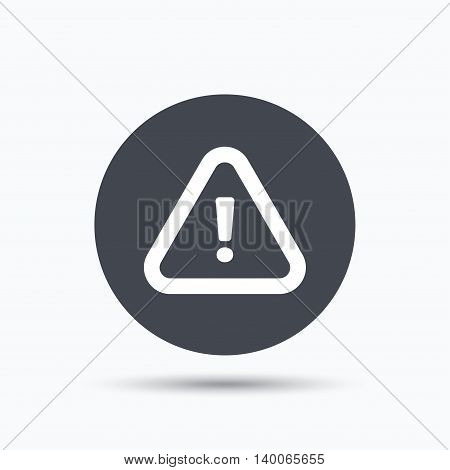 Warning icon. Attention exclamation mark symbol. Flat web button with icon on white background. Gray round pressbutton with shadow. Vector