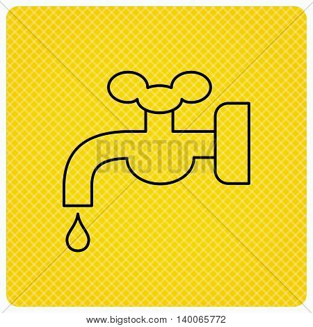 Water supply icon. Crane or Faucet with drop sign. Linear icon on orange background. Vector