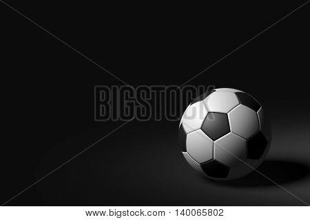 3D rendering of soccer ball on black background.