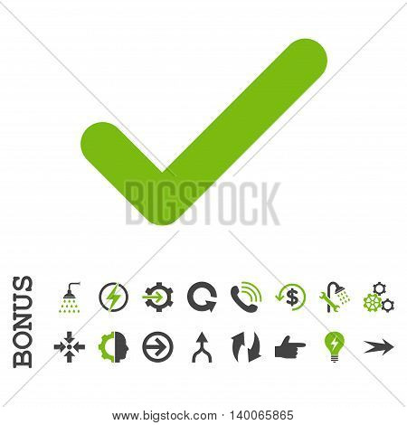 Ok glyph bicolor icon. Image style is a flat iconic symbol, eco green and gray colors, white background.