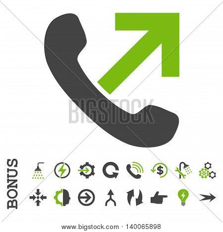 Outgoing Call glyph bicolor icon. Image style is a flat iconic symbol, eco green and gray colors, white background.