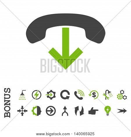 Phone Hang Up glyph bicolor icon. Image style is a flat iconic symbol, eco green and gray colors, white background.
