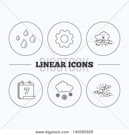 Weather, snow and rain icons. Water drops and mist linear signs. Flat cogwheel and calendar symbols. Linear icons in circle buttons. Vector