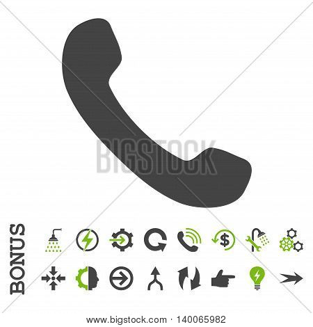 Phone Receiver glyph bicolor icon. Image style is a flat pictogram symbol, eco green and gray colors, white background.