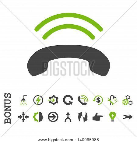Phone Ring glyph bicolor icon. Image style is a flat iconic symbol, eco green and gray colors, white background.