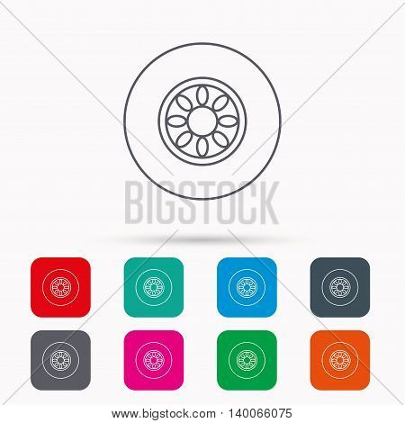 Car wheel icon. Automobile service sign. Linear icons in squares on white background. Flat web symbols. Vector