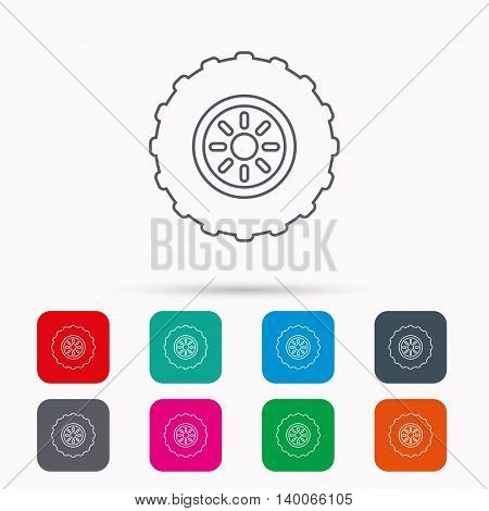 Tractor wheel icon. Tire service sign. Linear icons in squares on white background. Flat web symbols. Vector