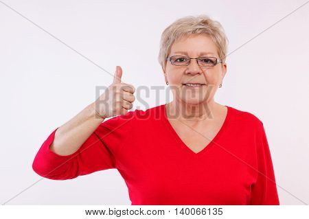 Happy Smiling Elderly Woman Showing Thumbs Up, Positive Emotions In Old Age