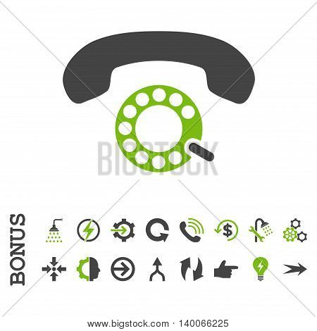Pulse Dialing glyph bicolor icon. Image style is a flat pictogram symbol, eco green and gray colors, white background.