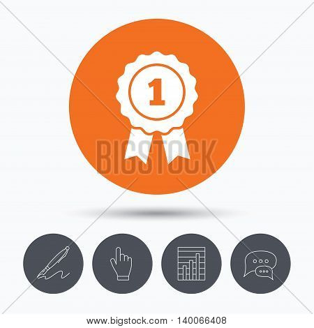 Winner medal icon. Award emblem symbol. Speech bubbles. Pen, hand click and chart. Orange circle button with icon. Vector