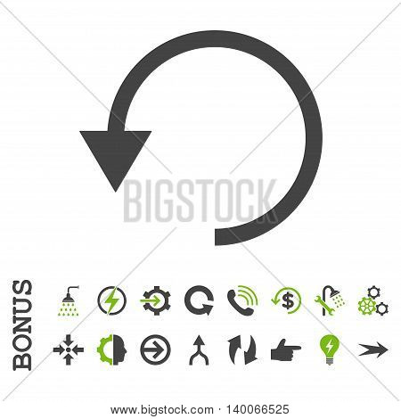 Rotate Ccw glyph bicolor icon. Image style is a flat pictogram symbol, eco green and gray colors, white background.