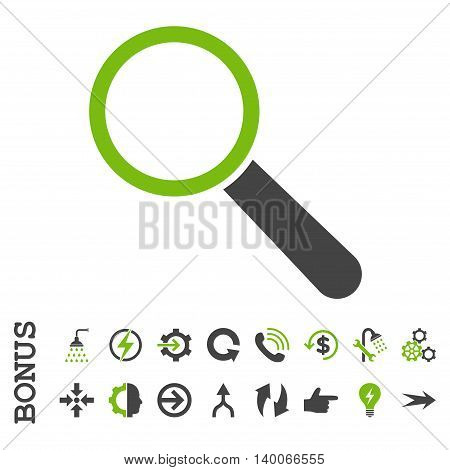 Search Tool glyph bicolor icon. Image style is a flat pictogram symbol, eco green and gray colors, white background.