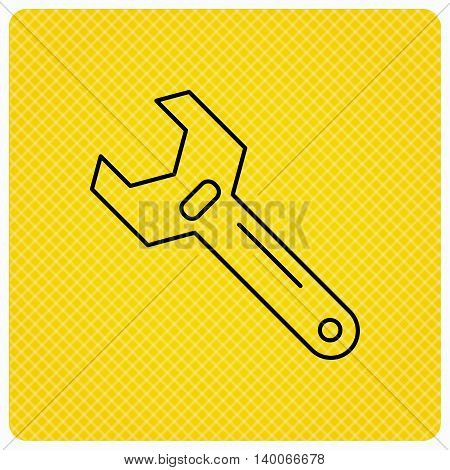 Wrench key icon. Adjustable repair tool sign. Linear icon on orange background. Vector