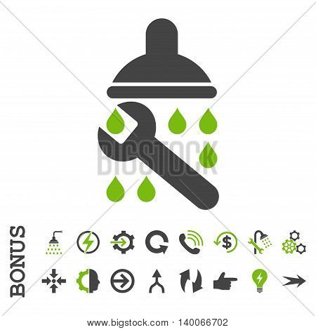 Shower Plumbing glyph bicolor icon. Image style is a flat pictogram symbol, eco green and gray colors, white background.