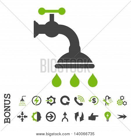 Shower Tap glyph bicolor icon. Image style is a flat iconic symbol, eco green and gray colors, white background.