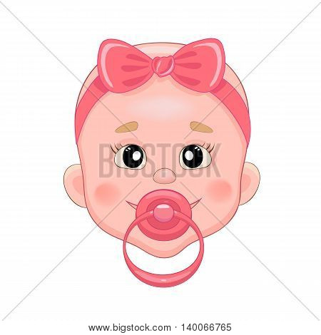 Baby with pacifier. Baby smile. Girl with bow