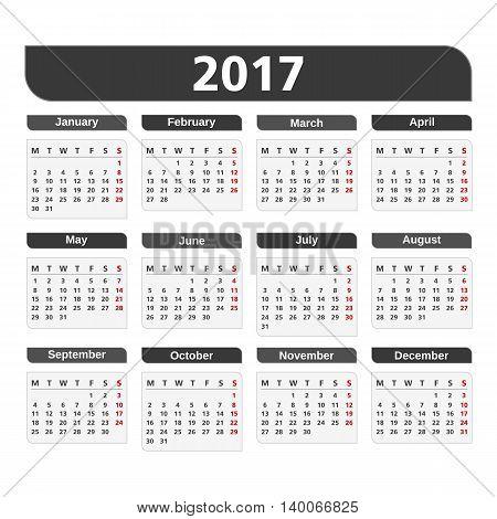 2017 Calendar on white background, vector eps10 illustration