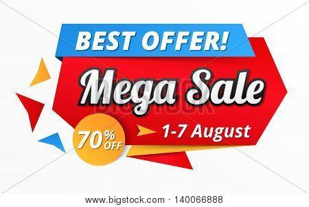 Best offer mega sale banner, advertisement, promotion design, vector eps10 illustration
