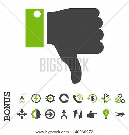 Thumb Down glyph bicolor icon. Image style is a flat iconic symbol, eco green and gray colors, white background.