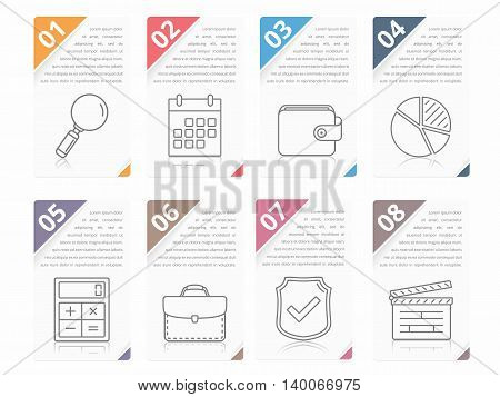 Set of infographic elements with numbers line icons and place for your text, can be used as workflow, process, steps or options, vector eps10 illustration