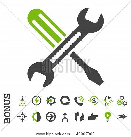 Tuning glyph bicolor icon. Image style is a flat pictogram symbol, eco green and gray colors, white background.