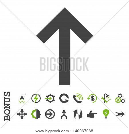Up Arrow glyph bicolor icon. Image style is a flat pictogram symbol, eco green and gray colors, white background.