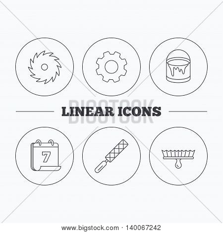 File tool, circular saw and brush tool icons. Bucket of paint linear sign. Flat cogwheel and calendar symbols. Linear icons in circle buttons. Vector