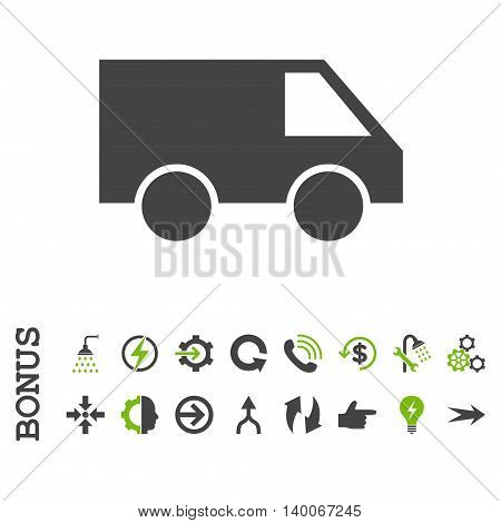 Van glyph bicolor icon. Image style is a flat pictogram symbol, eco green and gray colors, white background.