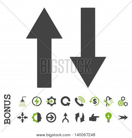 Vertical Flip Arrows glyph bicolor icon. Image style is a flat iconic symbol, eco green and gray colors, white background.