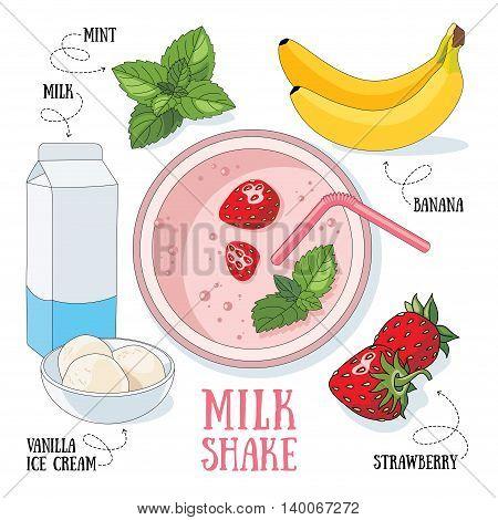 Banana and strawberry milk shake. Vector cartoon illustration isolated on a white background.