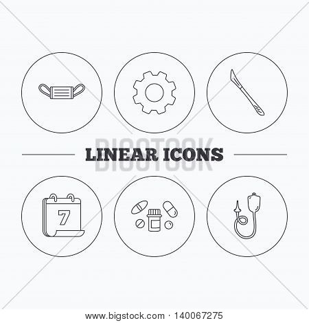 Medical mask, pills and scalpel icons. Enema linear sign. Flat cogwheel and calendar symbols. Linear icons in circle buttons. Vector