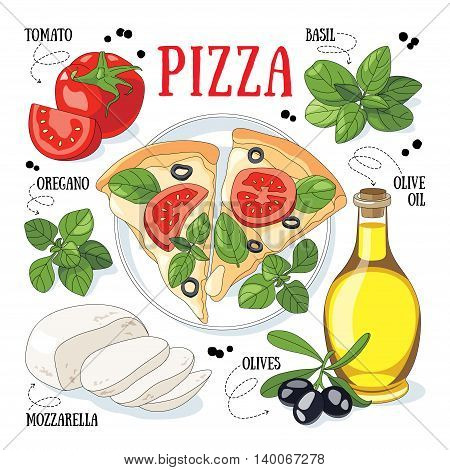 Pizza and its ingredients. Italian traditional cuisine.
