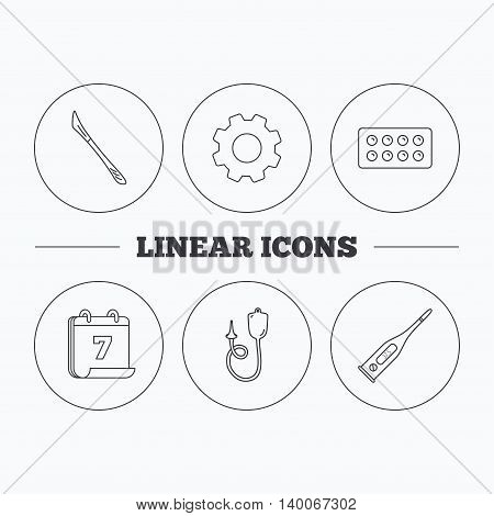 Electronic thermometer, tablets and scalpel icons. Enema linear sign. Flat cogwheel and calendar symbols. Linear icons in circle buttons. Vector