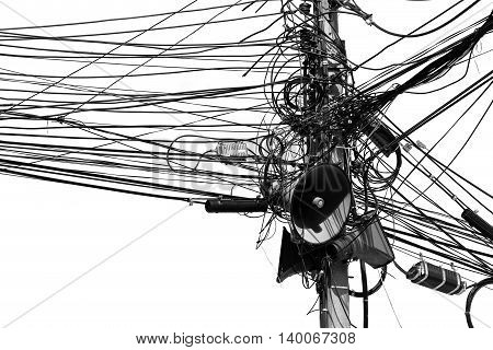 Electronic and cable line in city on black and white tone