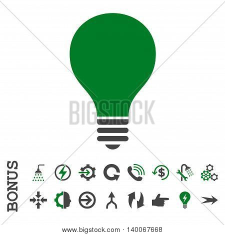 Bulb glyph bicolor icon. Image style is a flat pictogram symbol, green and gray colors, white background.
