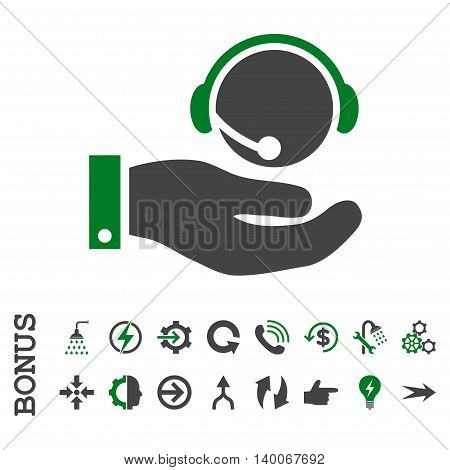 Call Center Service glyph bicolor icon. Image style is a flat pictogram symbol, green and gray colors, white background.