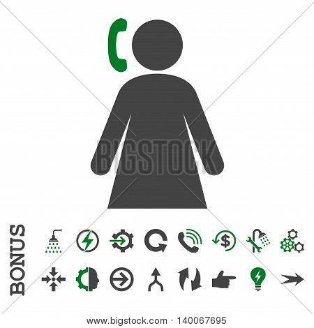 Calling Woman glyph bicolor icon. Image style is a flat pictogram symbol, green and gray colors, white background.
