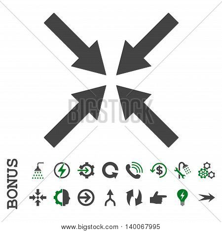 Center Arrows glyph bicolor icon. Image style is a flat pictogram symbol, green and gray colors, white background.