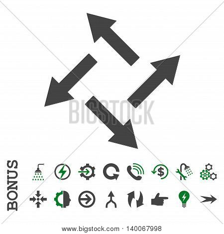 Centrifugal Arrows glyph bicolor icon. Image style is a flat pictogram symbol, green and gray colors, white background.