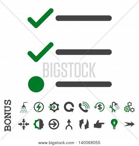 Checklist glyph bicolor icon. Image style is a flat pictogram symbol, green and gray colors, white background.